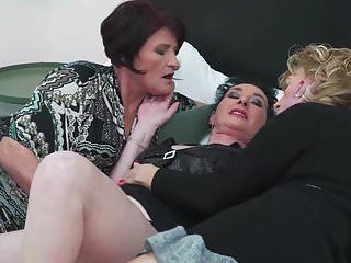 3 grannies take up with the tongue and fuck every other in lesbian three-some
