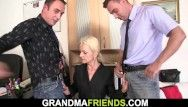 Breasty golden-haired slim granny swallows 2 schlongs for blow job