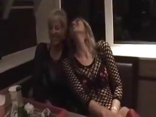 Gals fisting in a restaurant