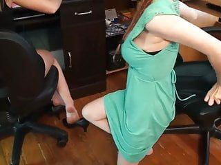 Lesbos at the office : let me take up with the tongue your soles and toes
