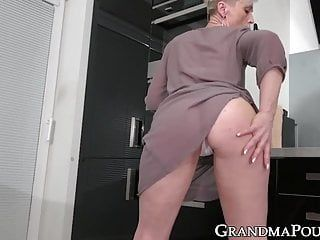 Solo short haired grandma uses sex toys on her old love tunnel