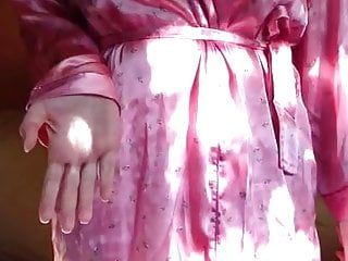 Taking pink dressing gown and my darksome panties off