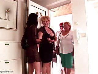 Eager lesbo group sex with matures and strapons