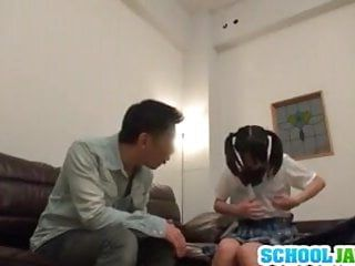 Nasty schoolgirl seduces an aged dude