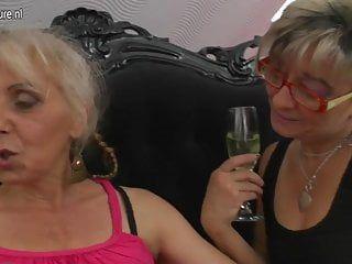 Lesbian mamas fuck bushy granny