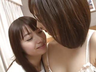 Subtitled japanese lesbo giving a kiss and licking foreplay hd
