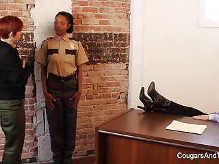 Hot ebon cop copulates her 2 coworkers