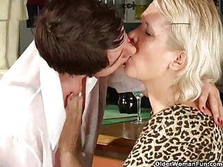 Lesbo grannies giving a kiss and licking every other