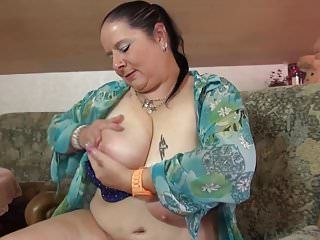 Aged bbw mamma massaging her large marangos and fur pie