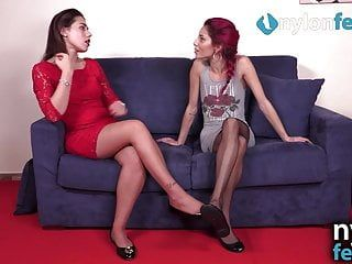 Lesbian babes in hose worship and massage every others feet
