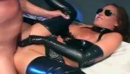 Kinky sex in a latex dress and shiny gloves