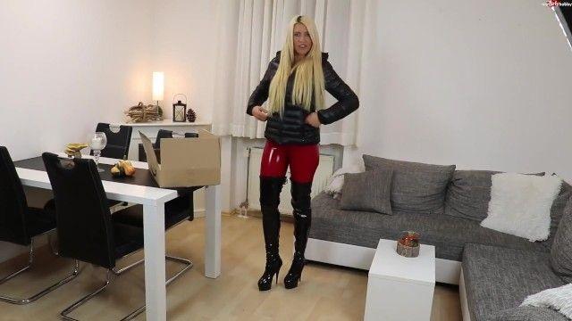 Blond german in dark puffy jacket sex