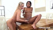 Breathtaking blond and ebon honey have a fun moist sexy make water session
