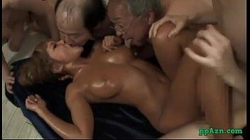 Sexy tanned oriental hotty pumped by dude whilst giving a kiss with unsightly dudes cum to face hole sti