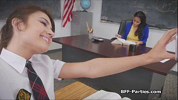 Three kinky coeds on breasty teacher