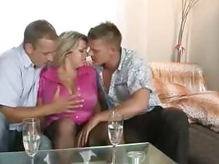 Large breasted mama engulfing banging two younger studs