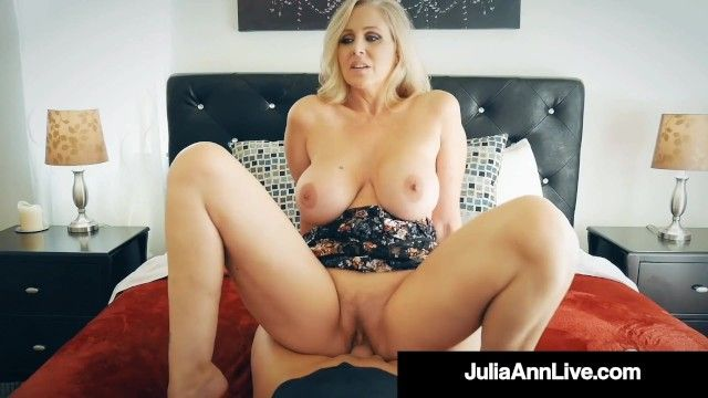 Breasty blond cougar julia ann gangbanged by nervous hard dick fan