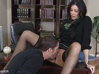 Nylons wearing india summer receives cum-hole eaten on a desk