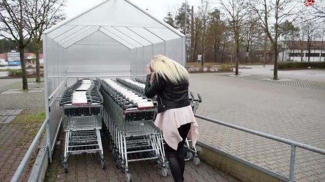 Blond german in a dark furry trimmed leather jacket sex
