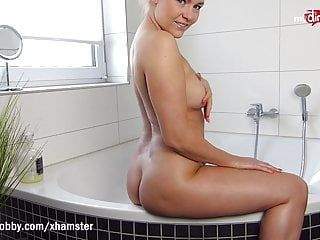 Mydirtyhobby- diminutive milf bibixx copulates her sex-toy in the baths